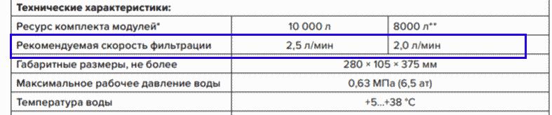 Скорость фильтрации проточных фильтров
